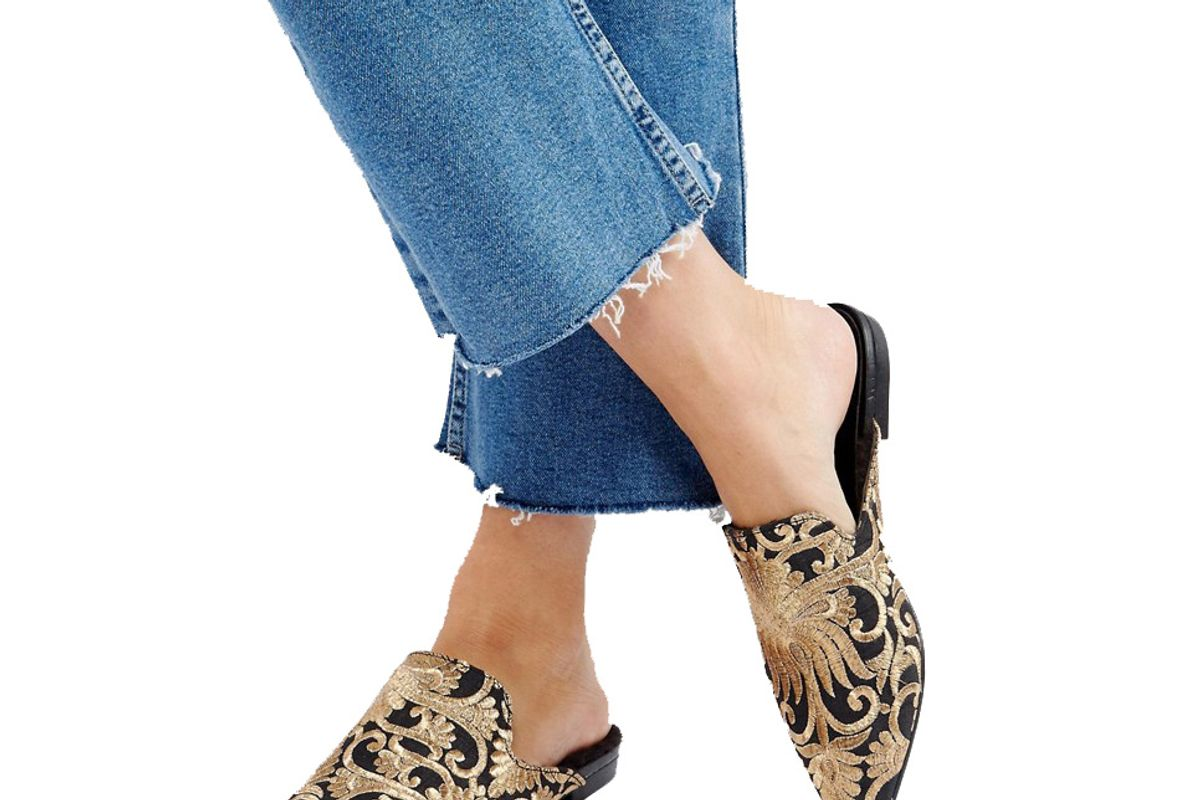 Vagabond Katlin Embroidered Faux Fur Lined Mules