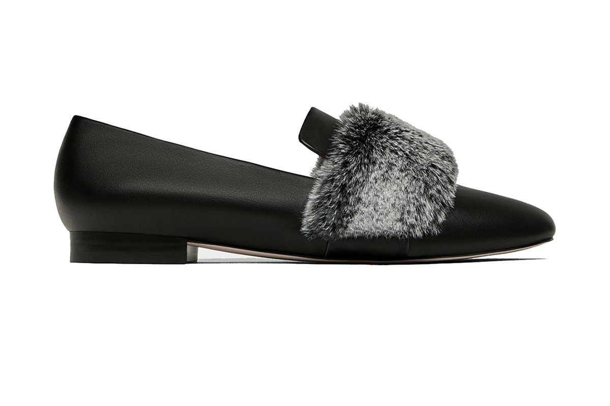 Slipper with Faux Fur Detail