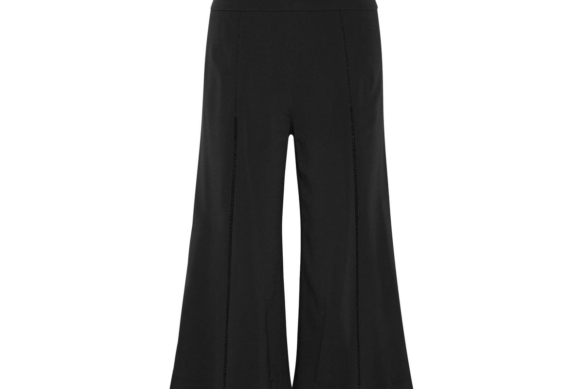 Crochet-trimmed stretch-crepe culottes