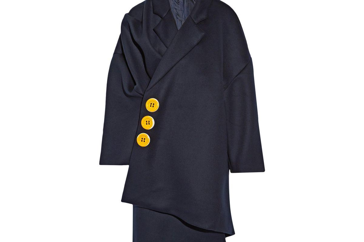 Oversized embellished wool-crepe coat