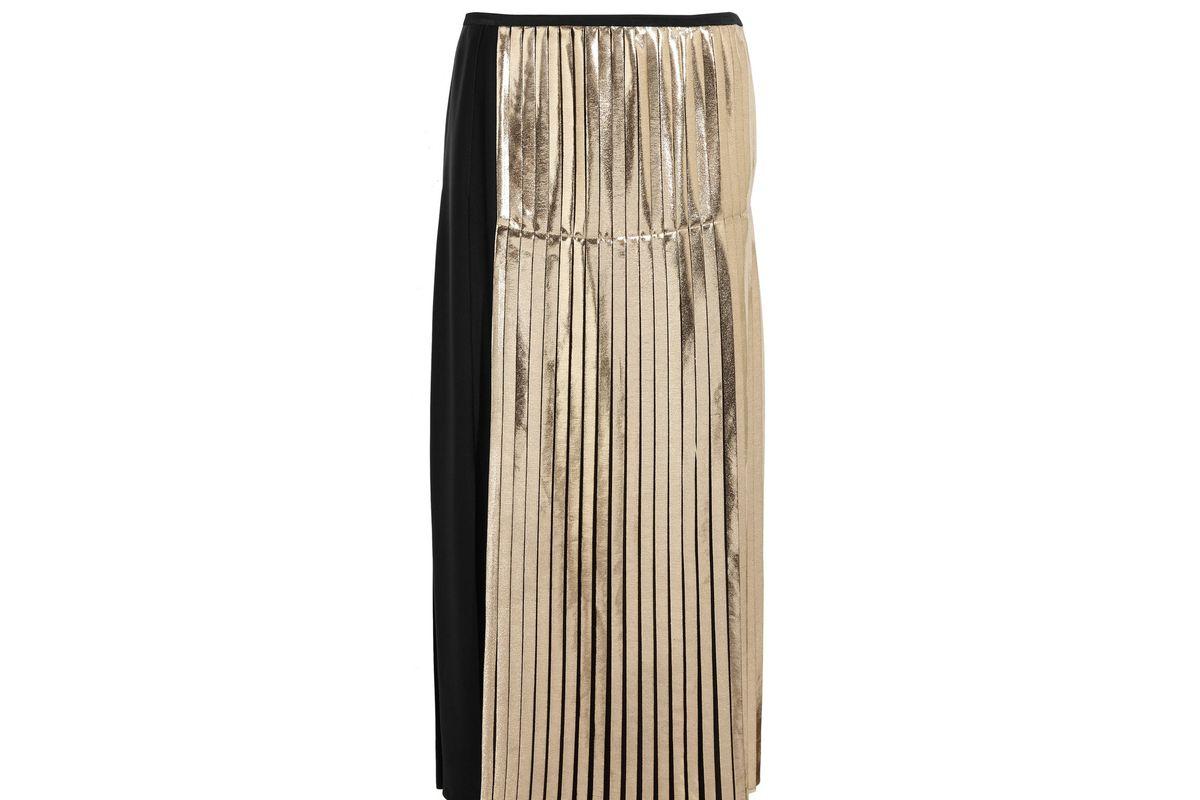 Carmen metallic-paneled pleated crepe maxi skirt