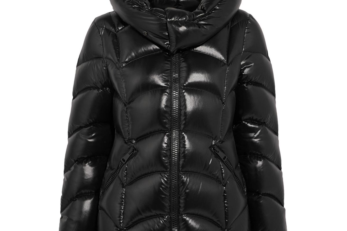 moncler akebia quilted patent shell down jacket
