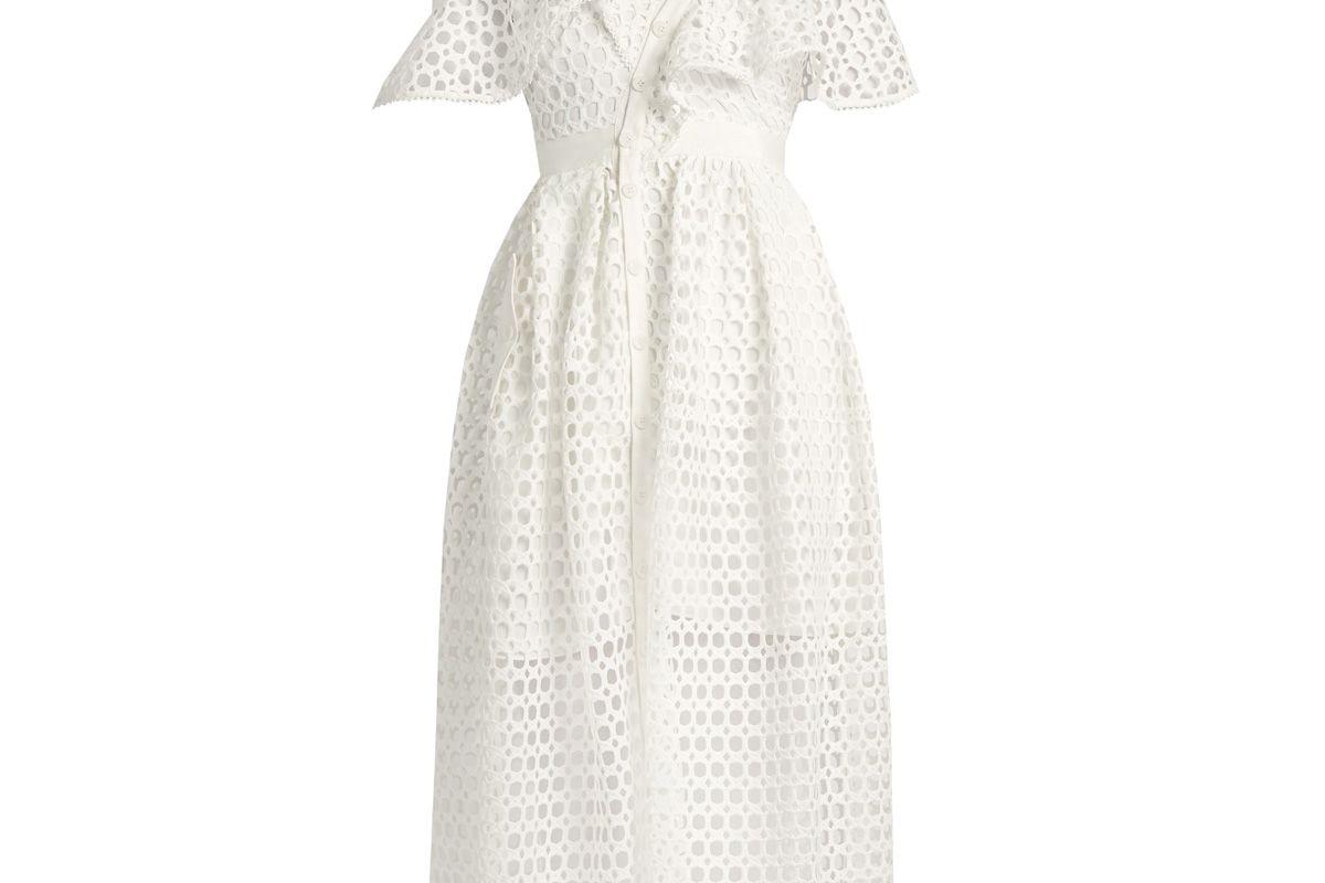 One-Shoulder Guipure-Lace Midi Dress