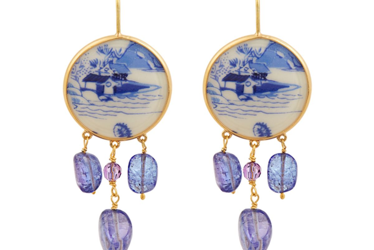 Tanzanite, Amethyst and Yellow-Gold Earrings