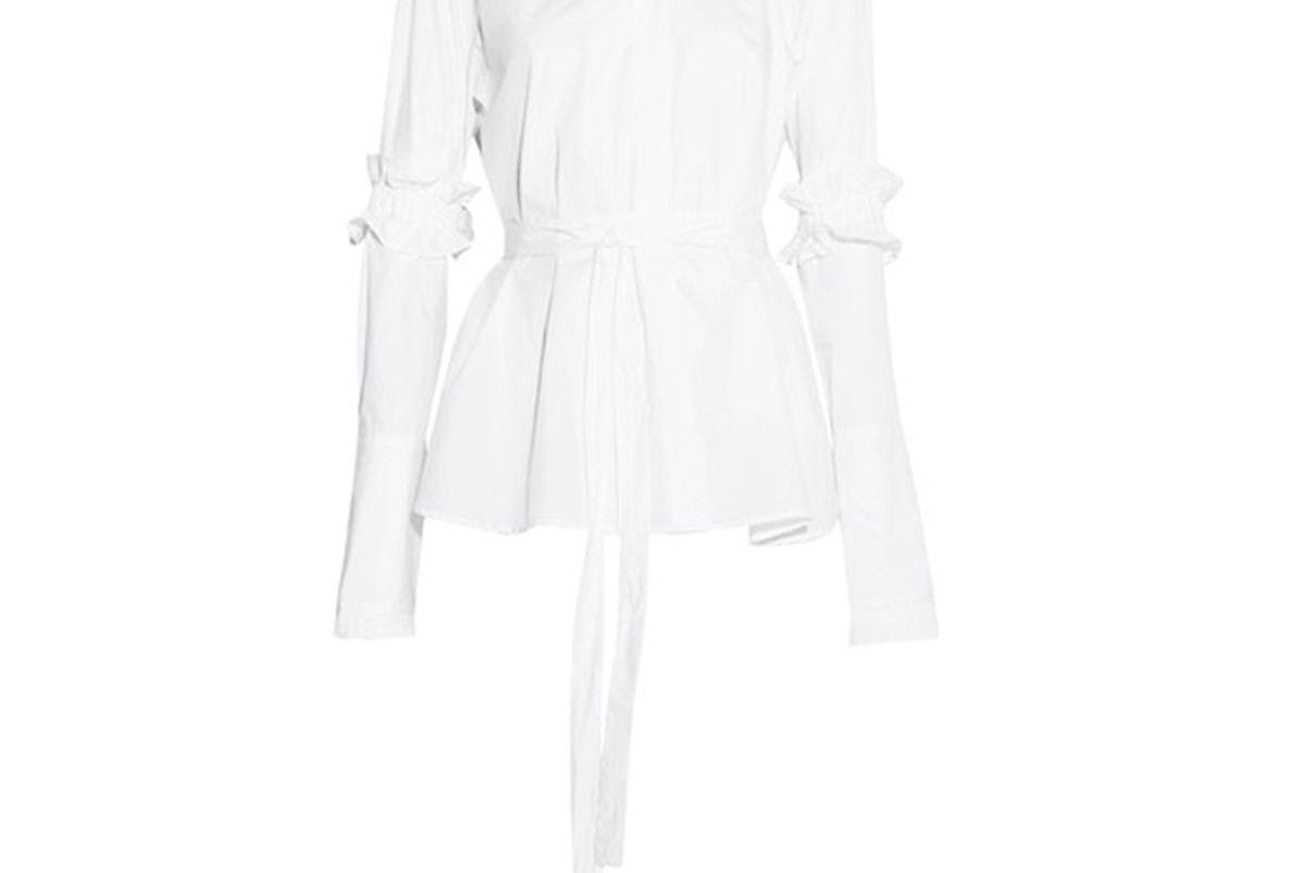 Hold It Together Belted Cotton-Poplin Shirt