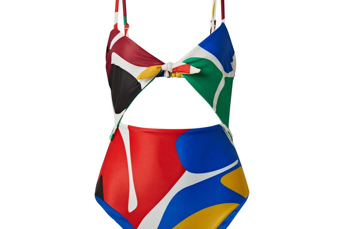 mara hoffman kia cutout printed swimsuit