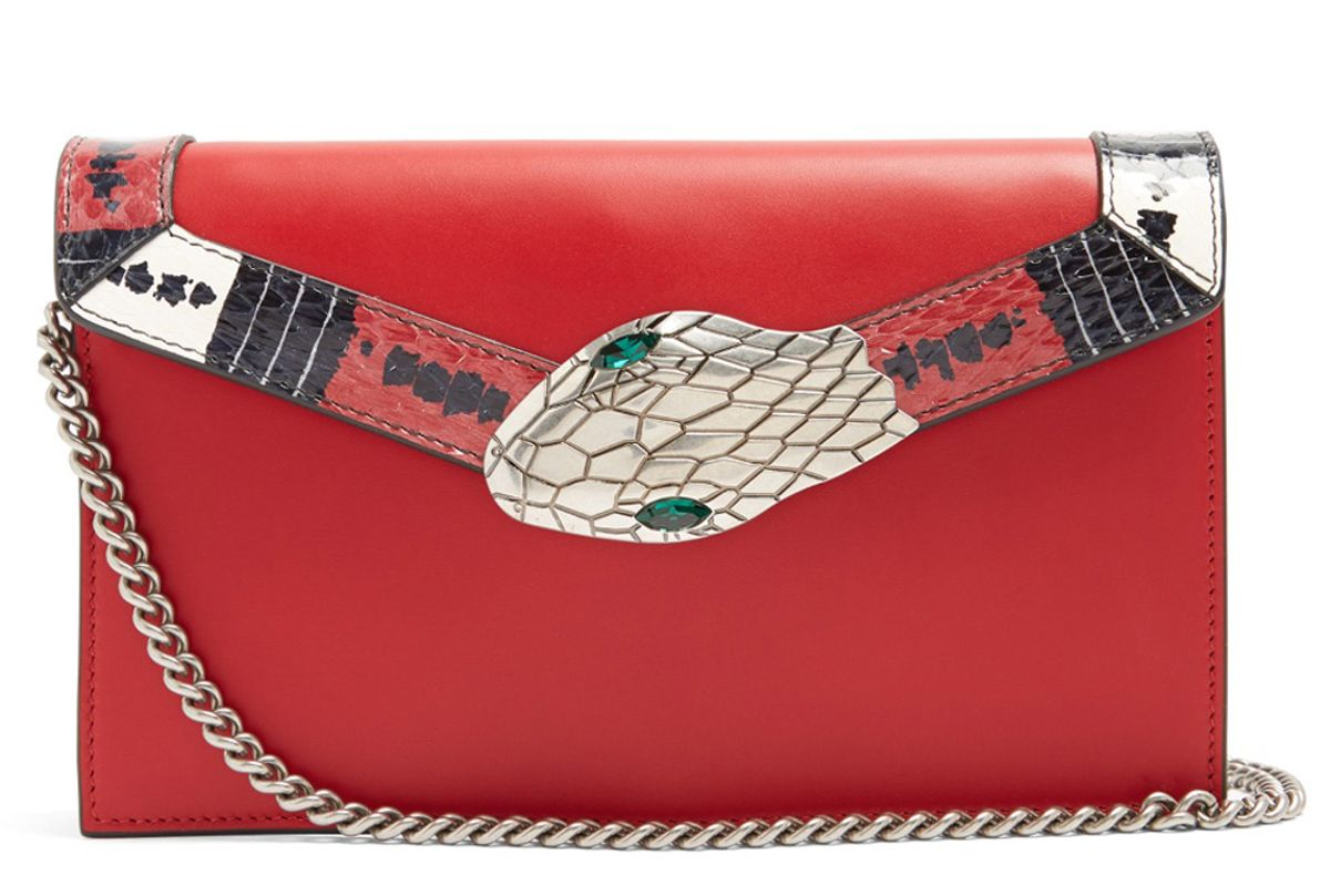 Lilith Mini Snakeskin-Trimmed Leather Shoulder Bag