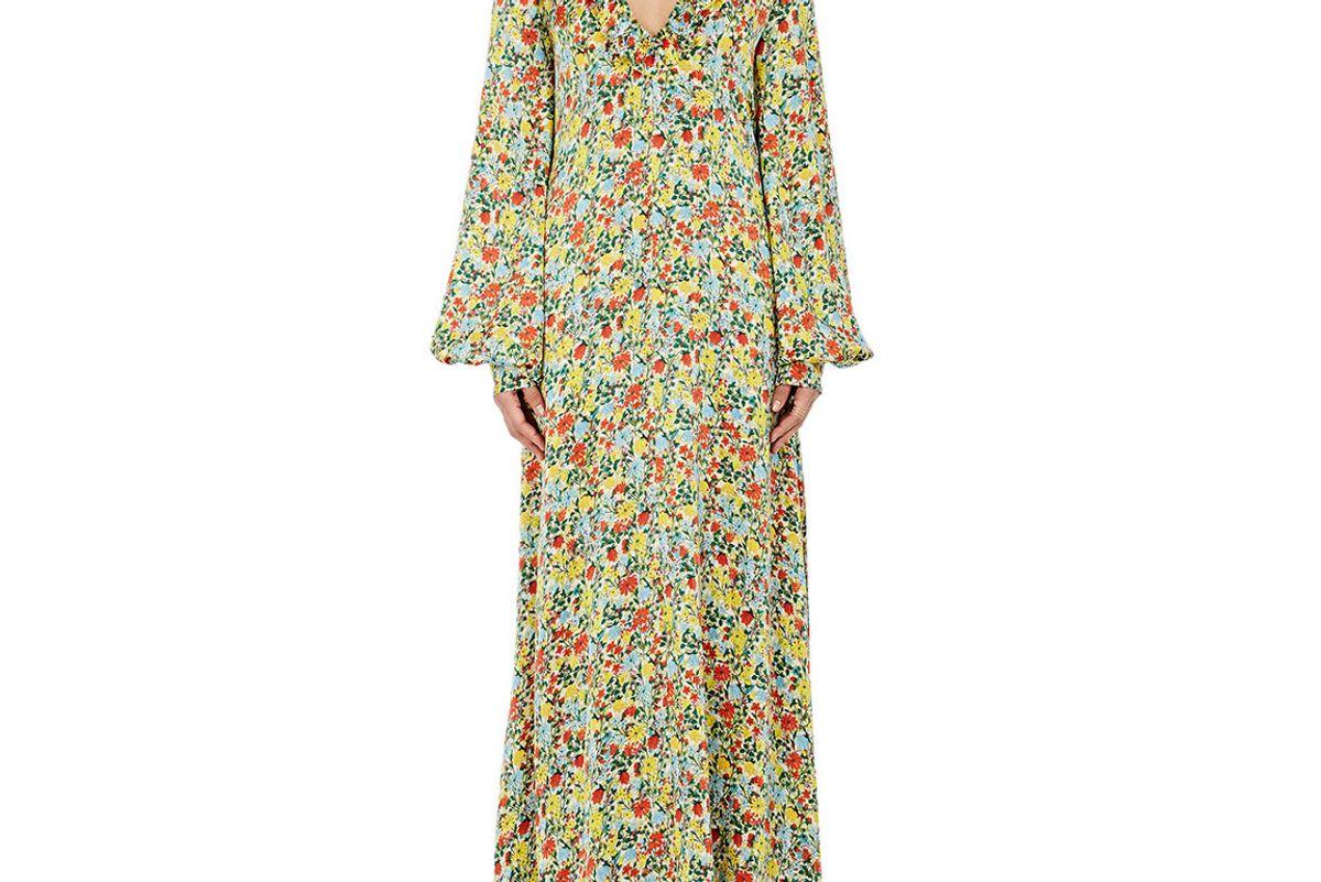 Floral Silk Ruffle Maxi Dress