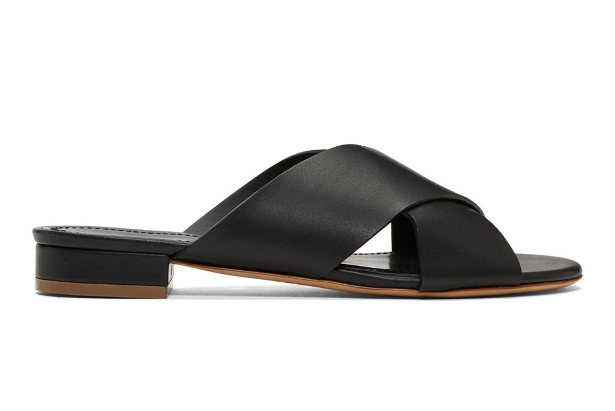 mansur gavriel black flat crosover sandals