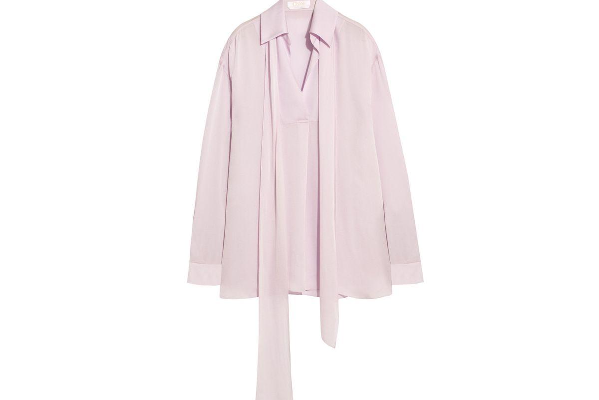 Hammered-satin blouse