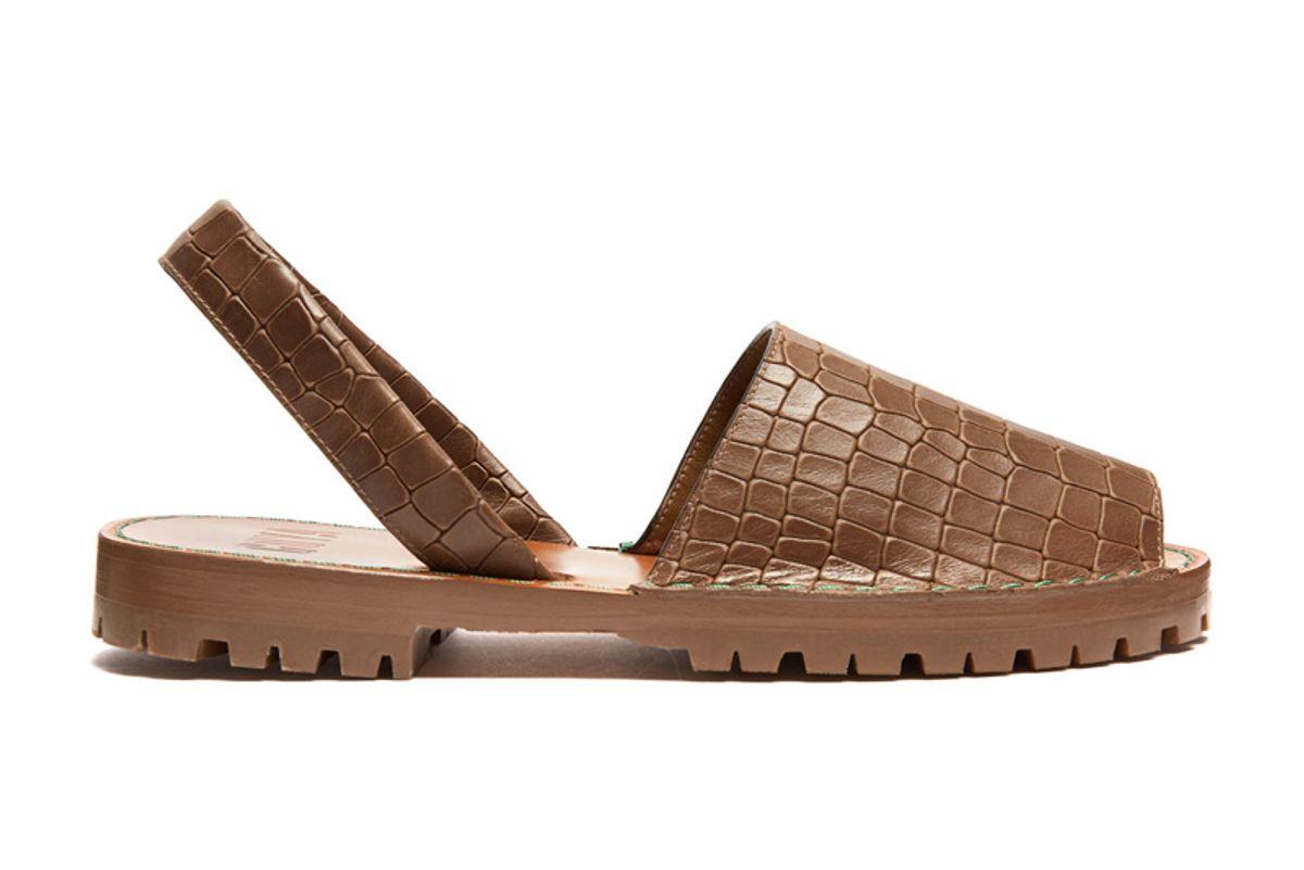 Crocodile-Effect Leather Slingback Sandals