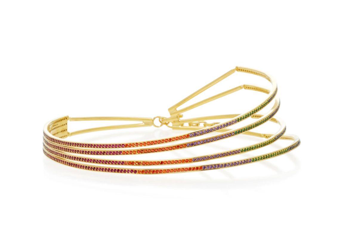 joanna laura constantine gold plated rainbow choker necklace