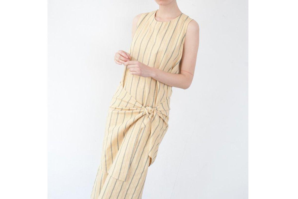 Mara Dress in Yellow Pinstripe