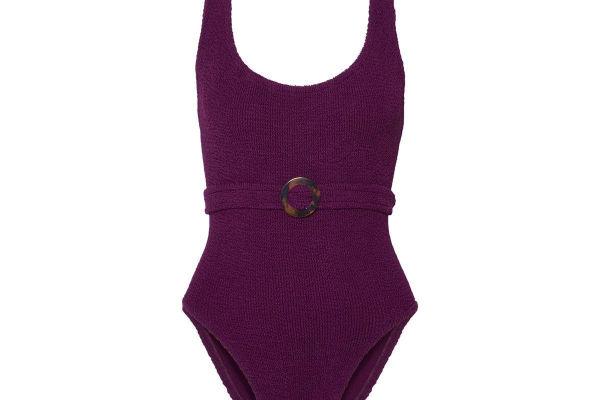 hunza g solitaire embellished seersucker swimsuit