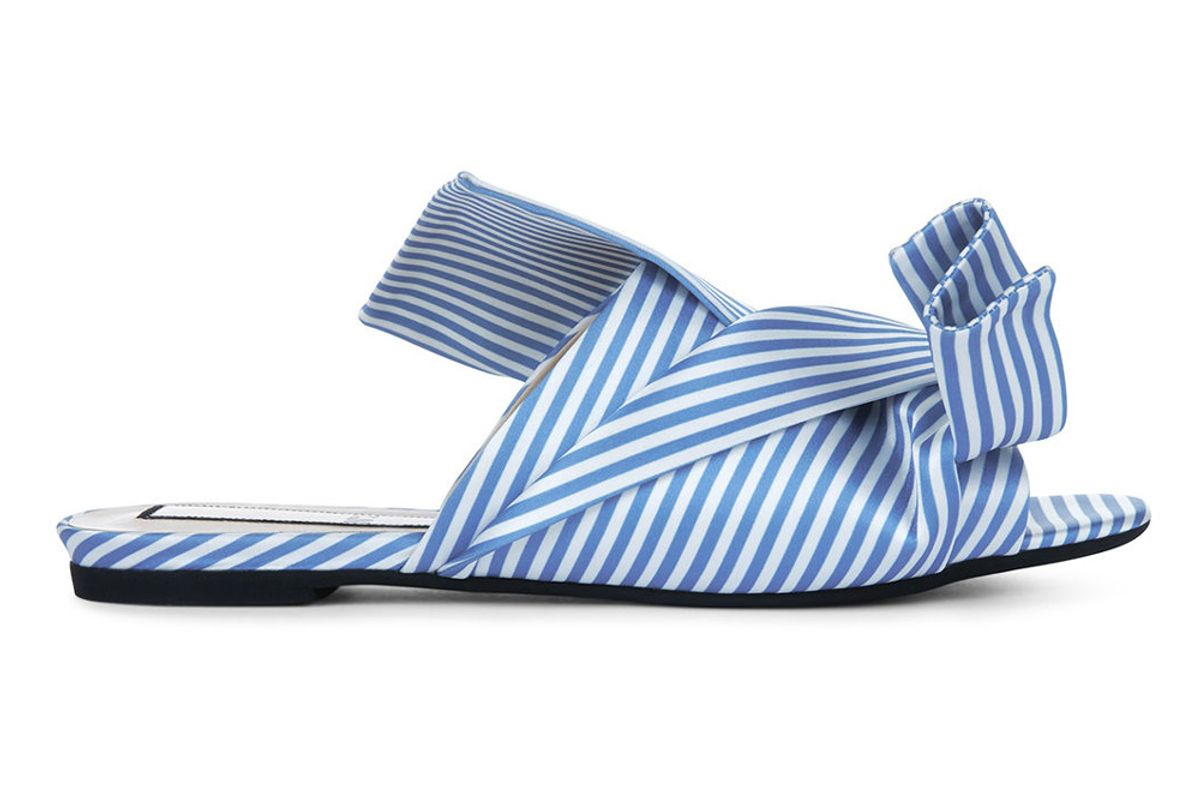 Blue & White Stripe Satin Bow Slides