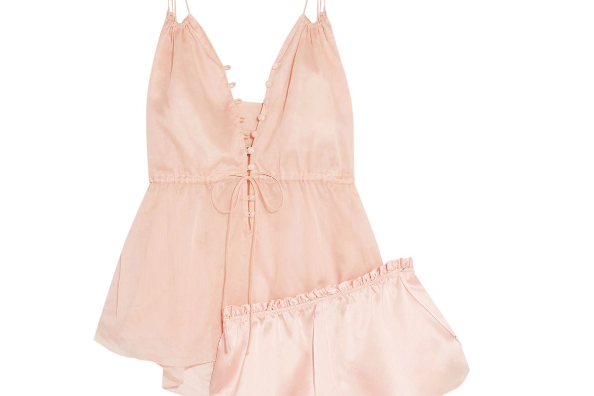 Adriana and Ariel Cotton-Mousseline and Silk-Satin Pajama Set