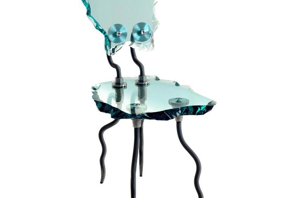Etruscan Chair, Glass and Steel Chair