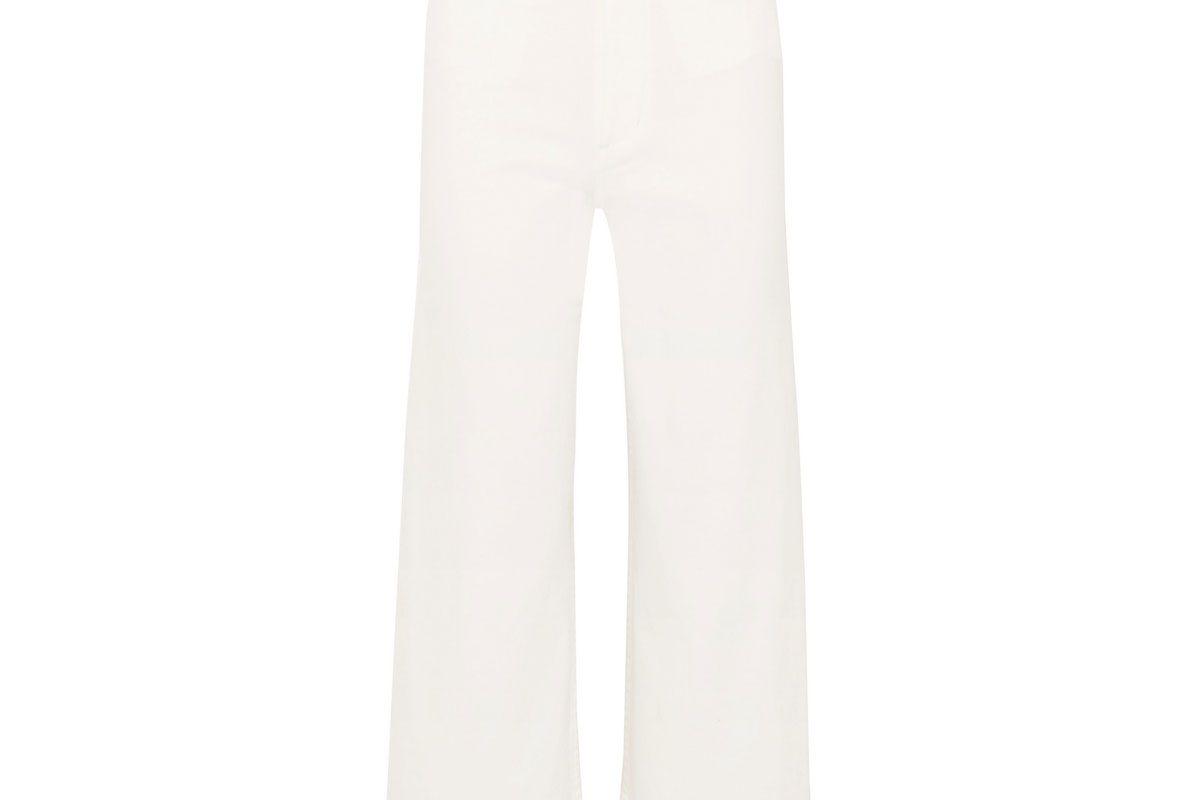 apiece apart merida cropped cotton blend twill wide leg pants