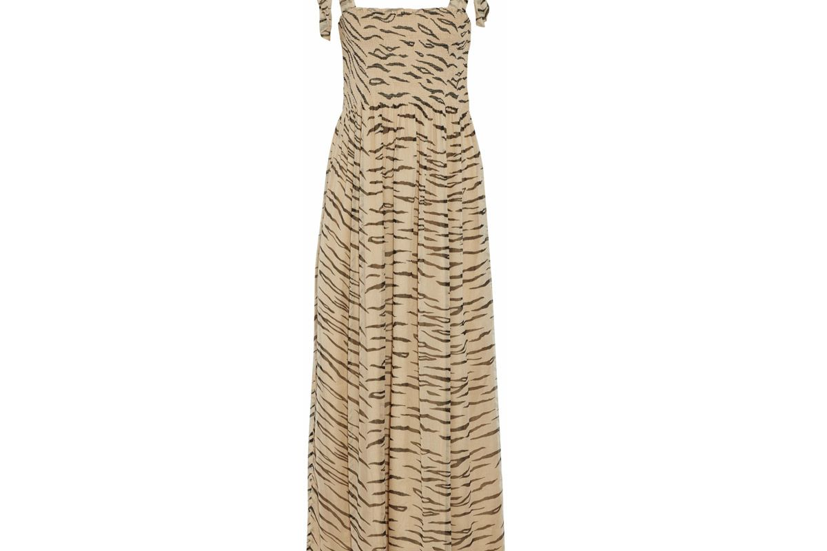 ganni printed crinkled chiffon maxi dress