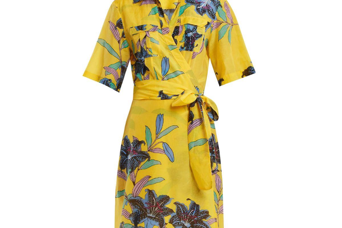 diane von furstenberg floral print cotton and silk blend wrap dress