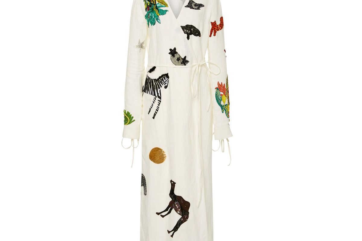 attico animal embellished wrap midi dress