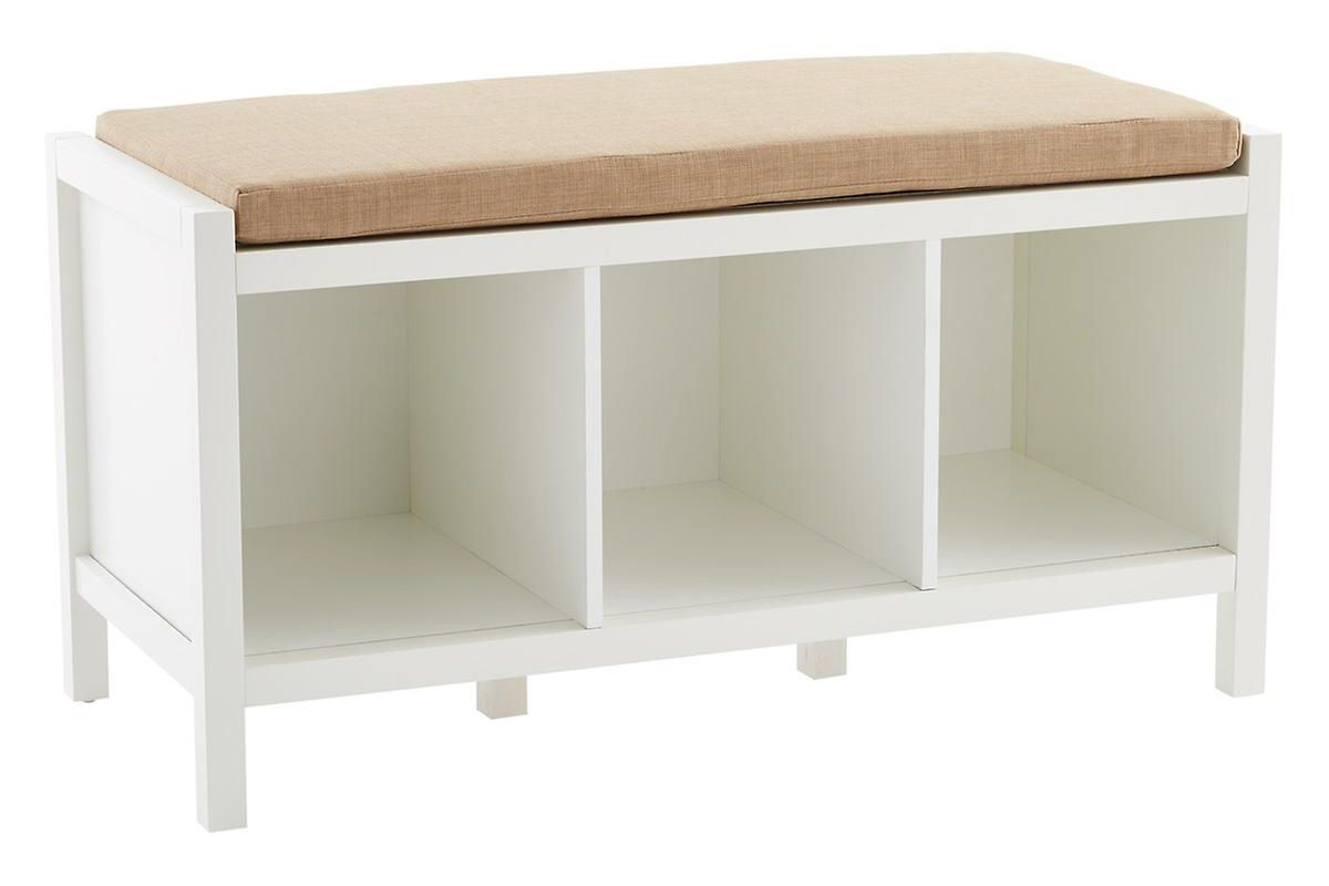 White Division Entryway Storage Bench with Cushion