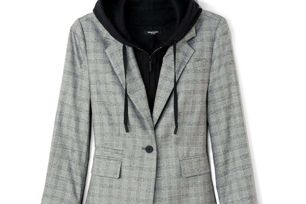 Menswear Removable Hood Plaid Blazer