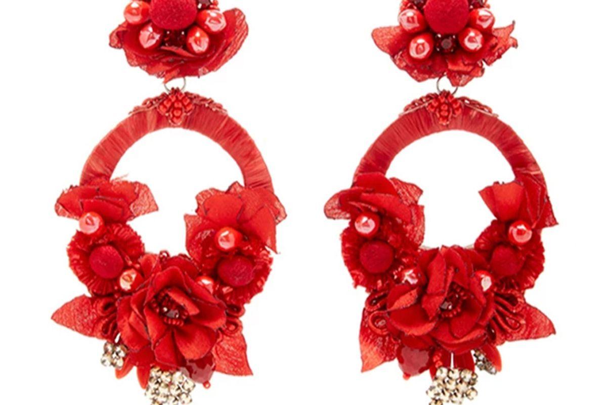 Red Large Floral Drop Earrings
