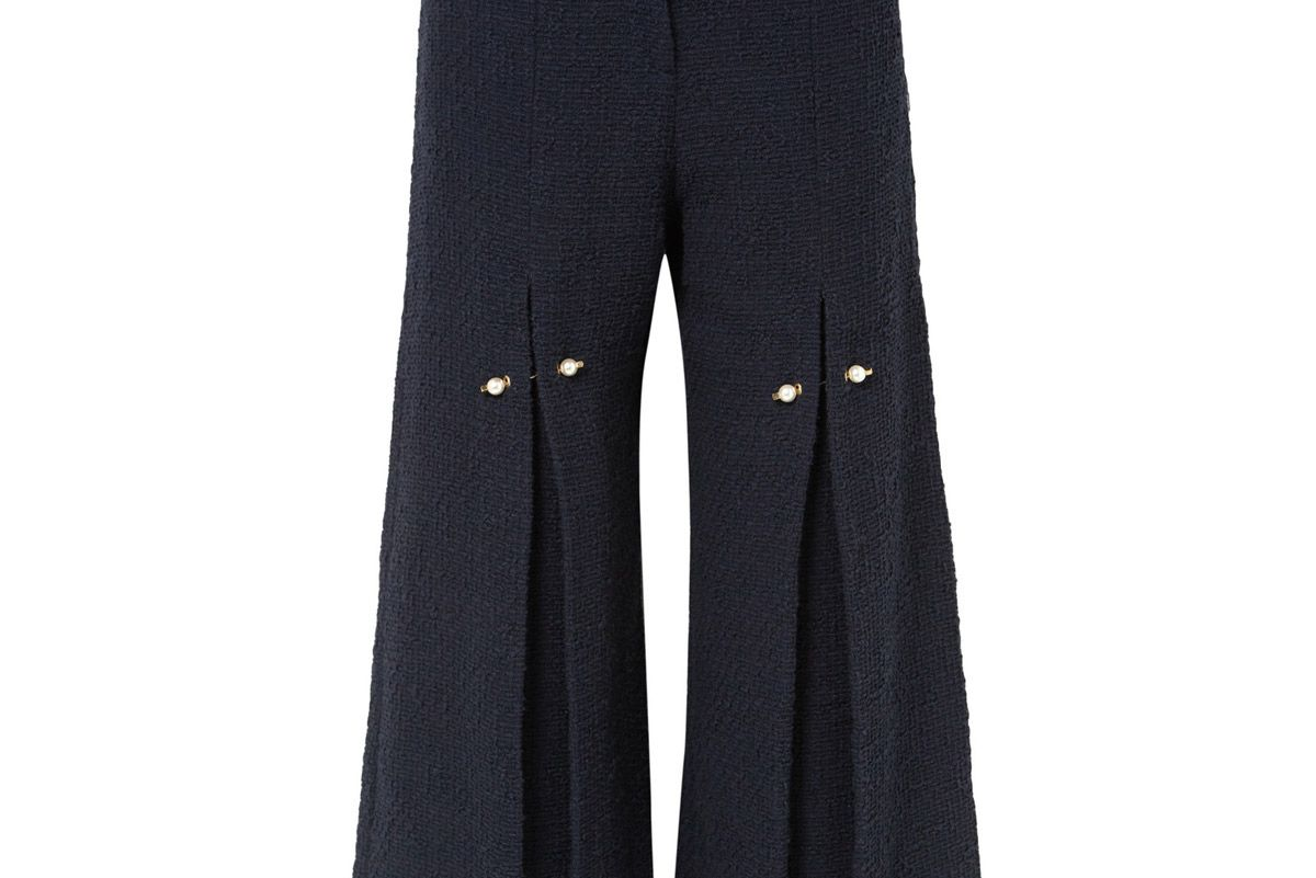 mother of pearl bennine faux pearl embellished pleated cotton tweed wide leg pants