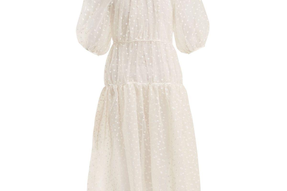 cecilie bahsen aia polka dot fil coupe silk blend dress