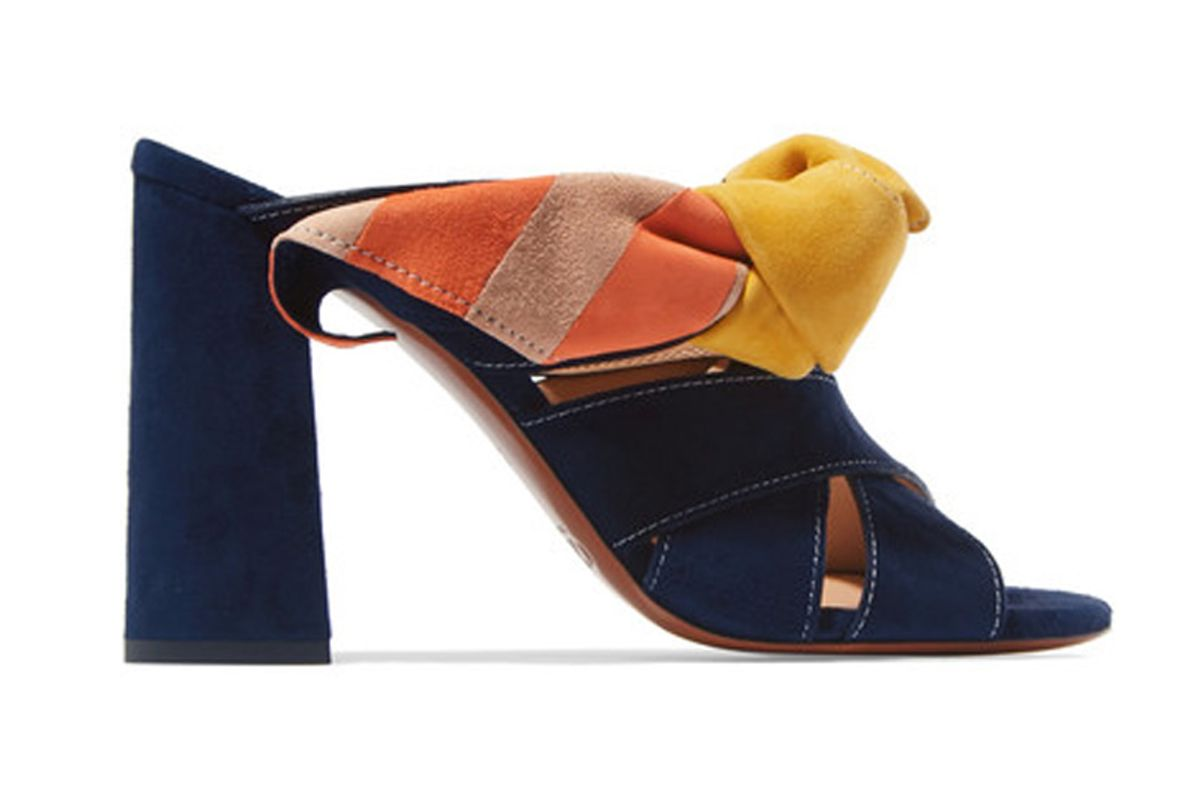 Nellie Bow-Embellished Suede Mules