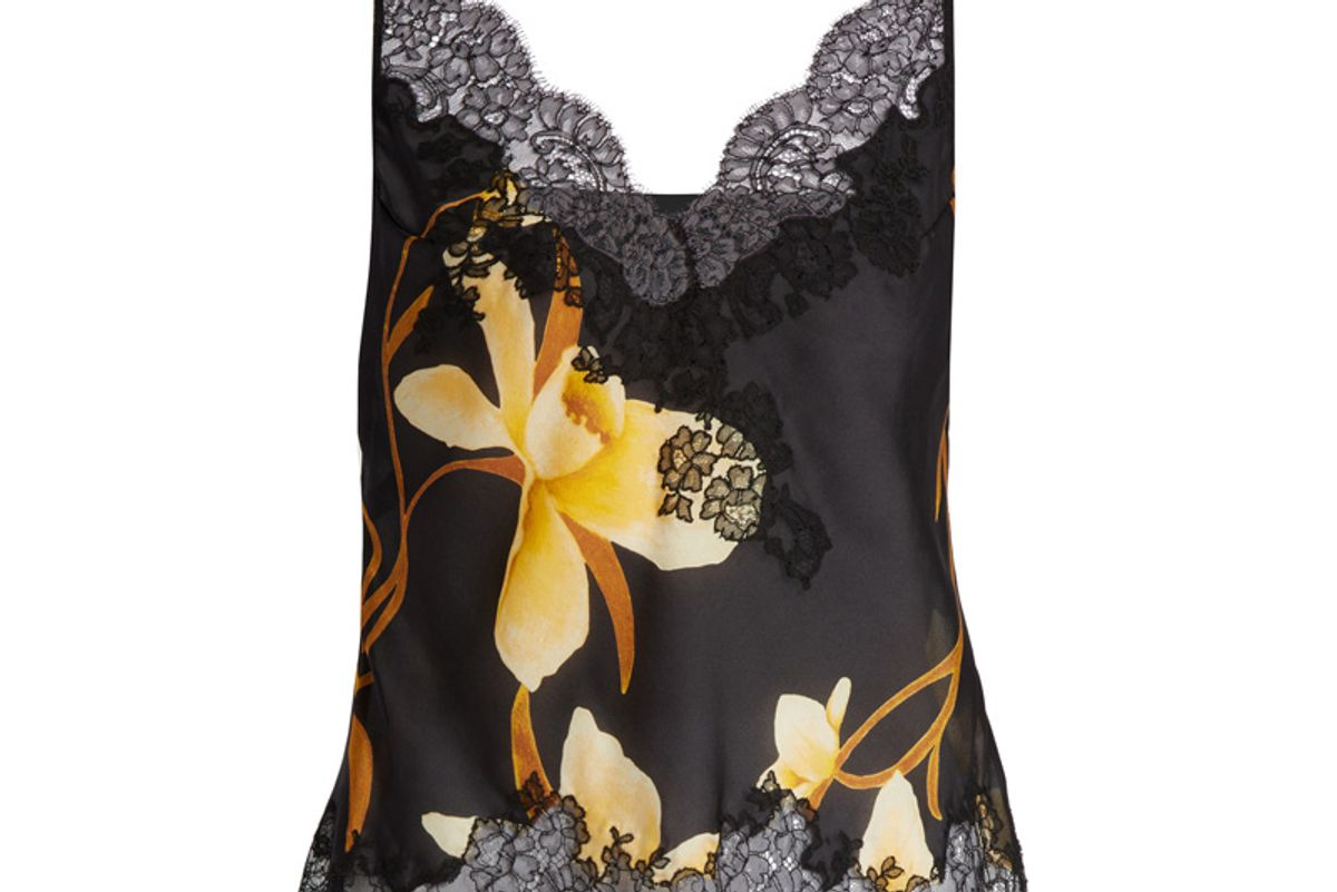 Orchid-Print Silk-Satin Cami Top