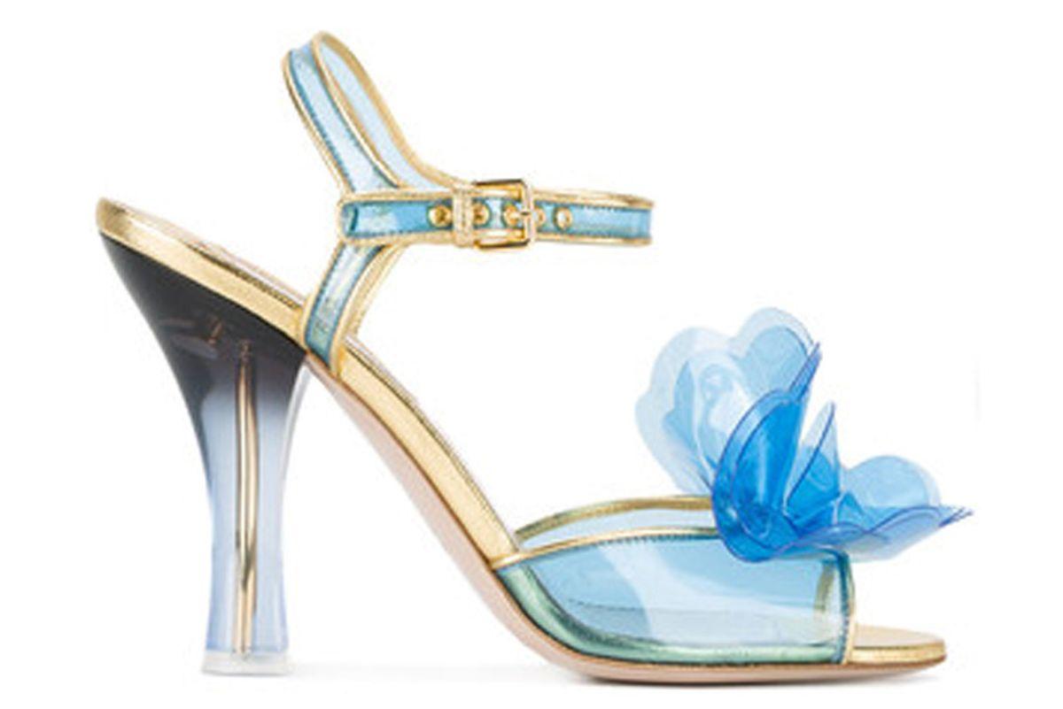 Vinyl Floral Embellished Sandals