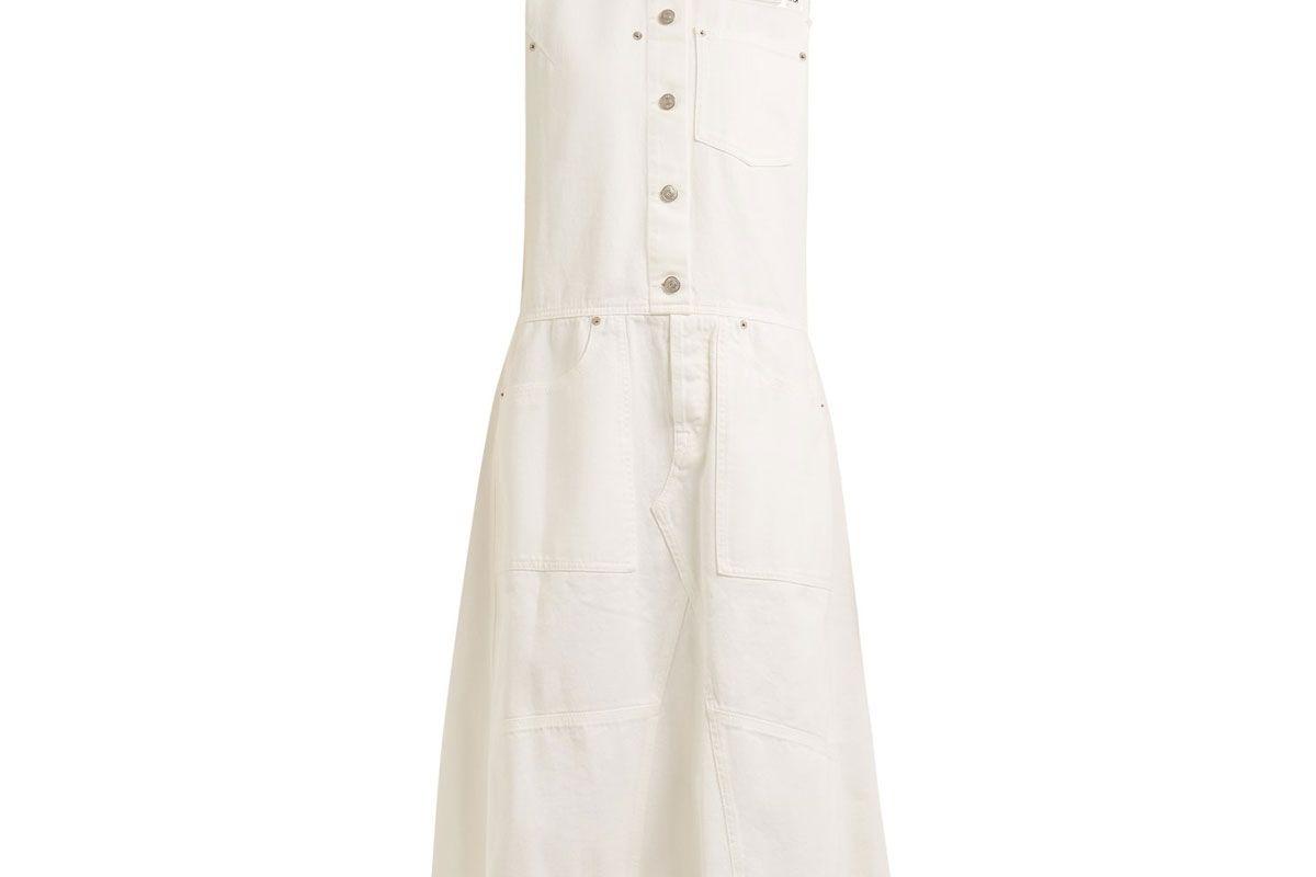 mm6 maison margiela button through sleeveless denim dress