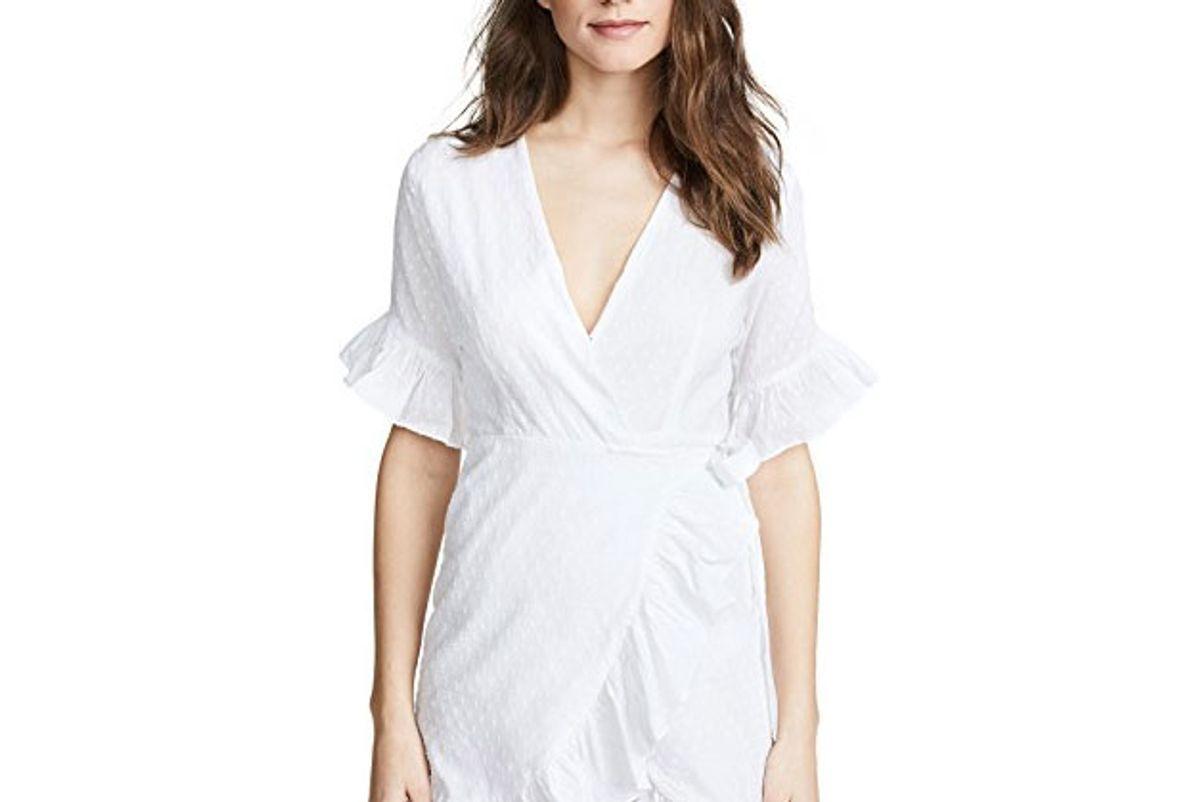 kos resort wrap ruffle mini dress