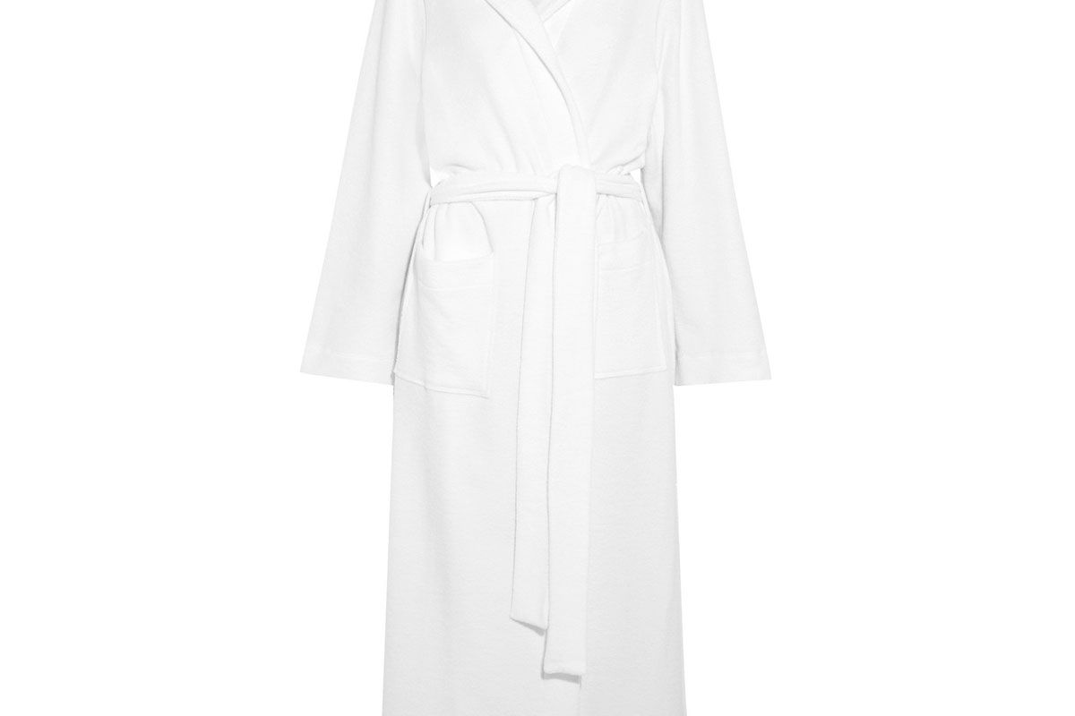 hanro hooded terry robe