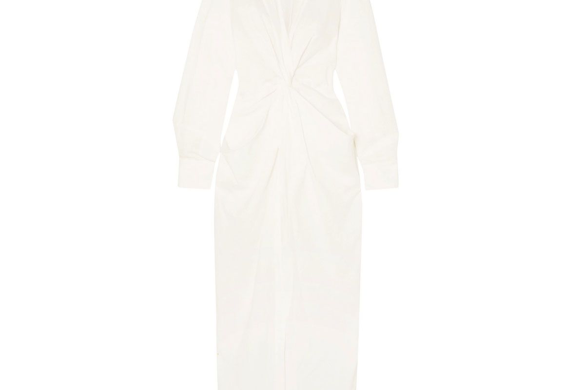 jacquemus la robe bolso twist front linen and cotton blend midi dress