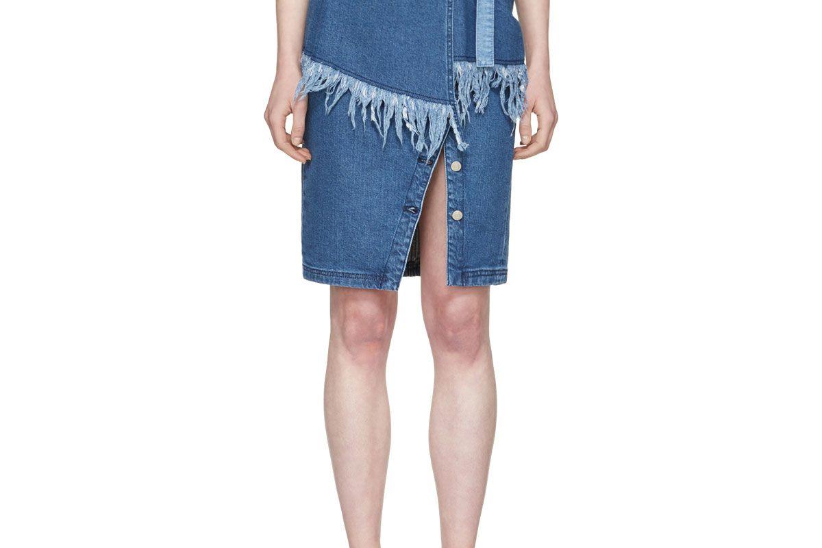 Blue Denim Frayed Skirt