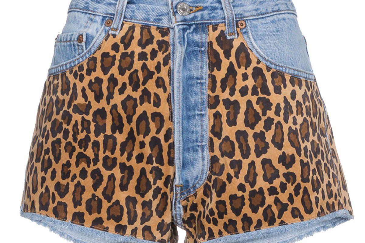 beau souci denim shorts with leopard