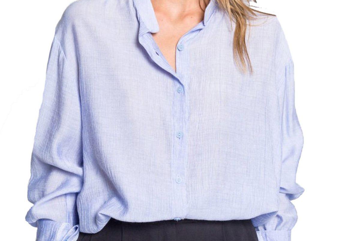 almina soft linen collarless blouse