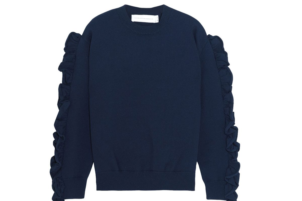 Ruffle-Trimmed Ribbed-Knit Sweater
