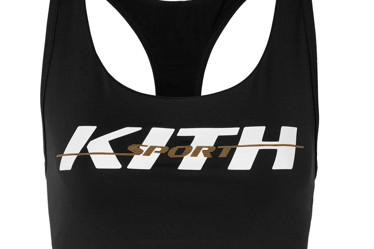 kith brie printed stretch jersey sports bra