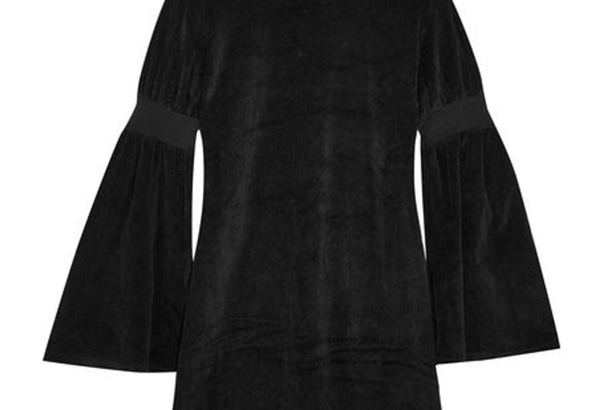 Bell-sleeve velour mini dress