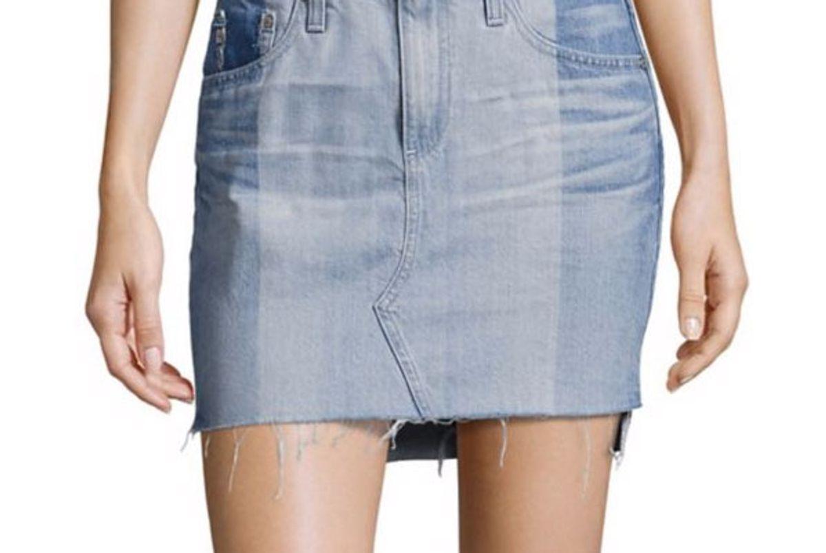 Sandy Colorblock Denim Mini Skirt