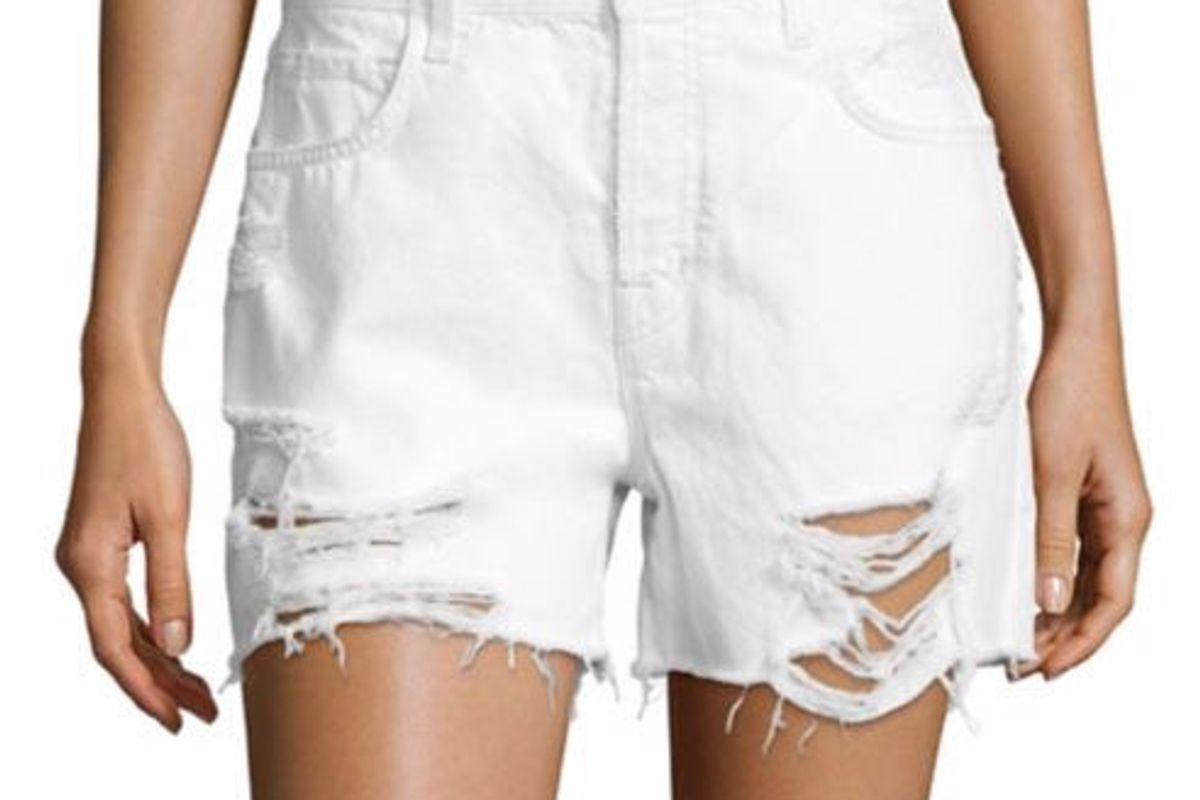 Ivy High-Rise Distressed Denim Shorts/Distract