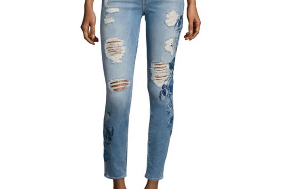 Embroidered Skinny-Fit Distressed Jeans