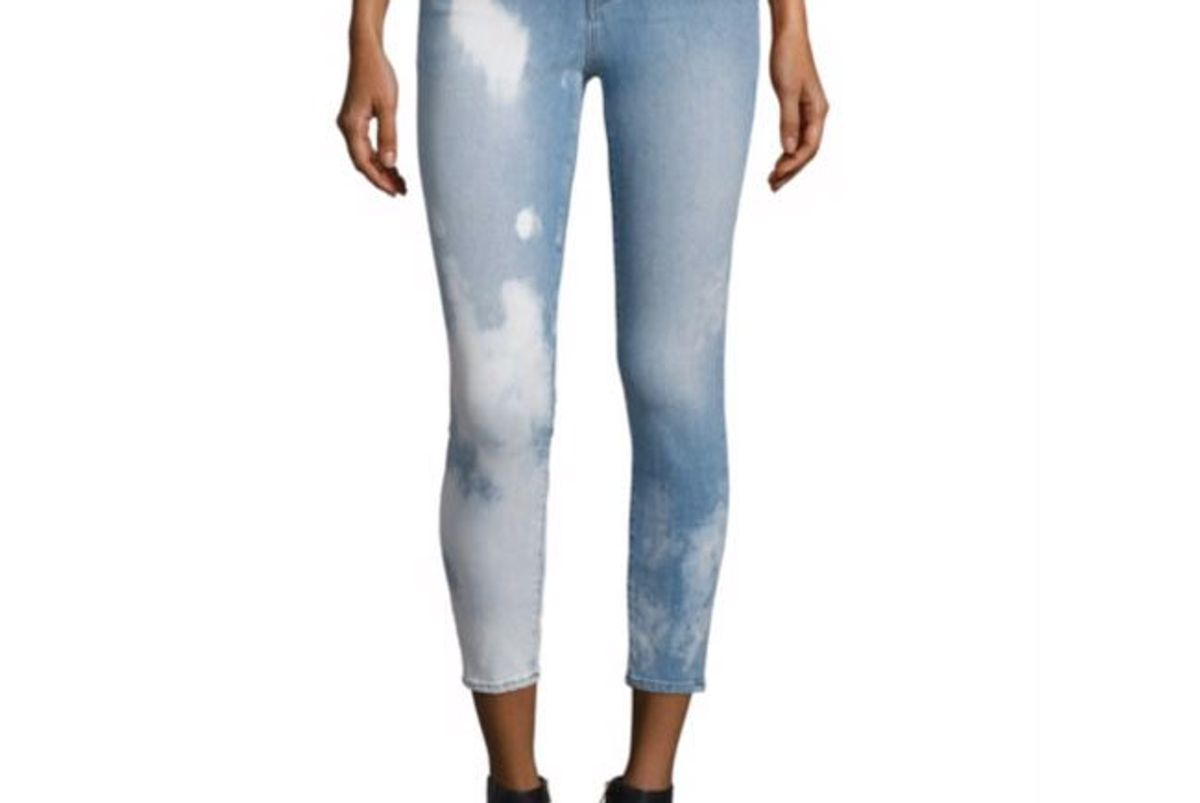 Alana Bleached High-Rise Cropped Skinny Jeans/Downpour