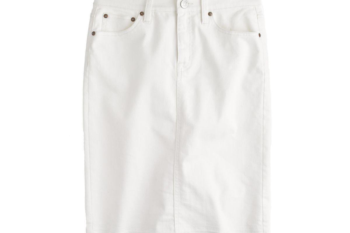 Frayed denim pencil skirt in white