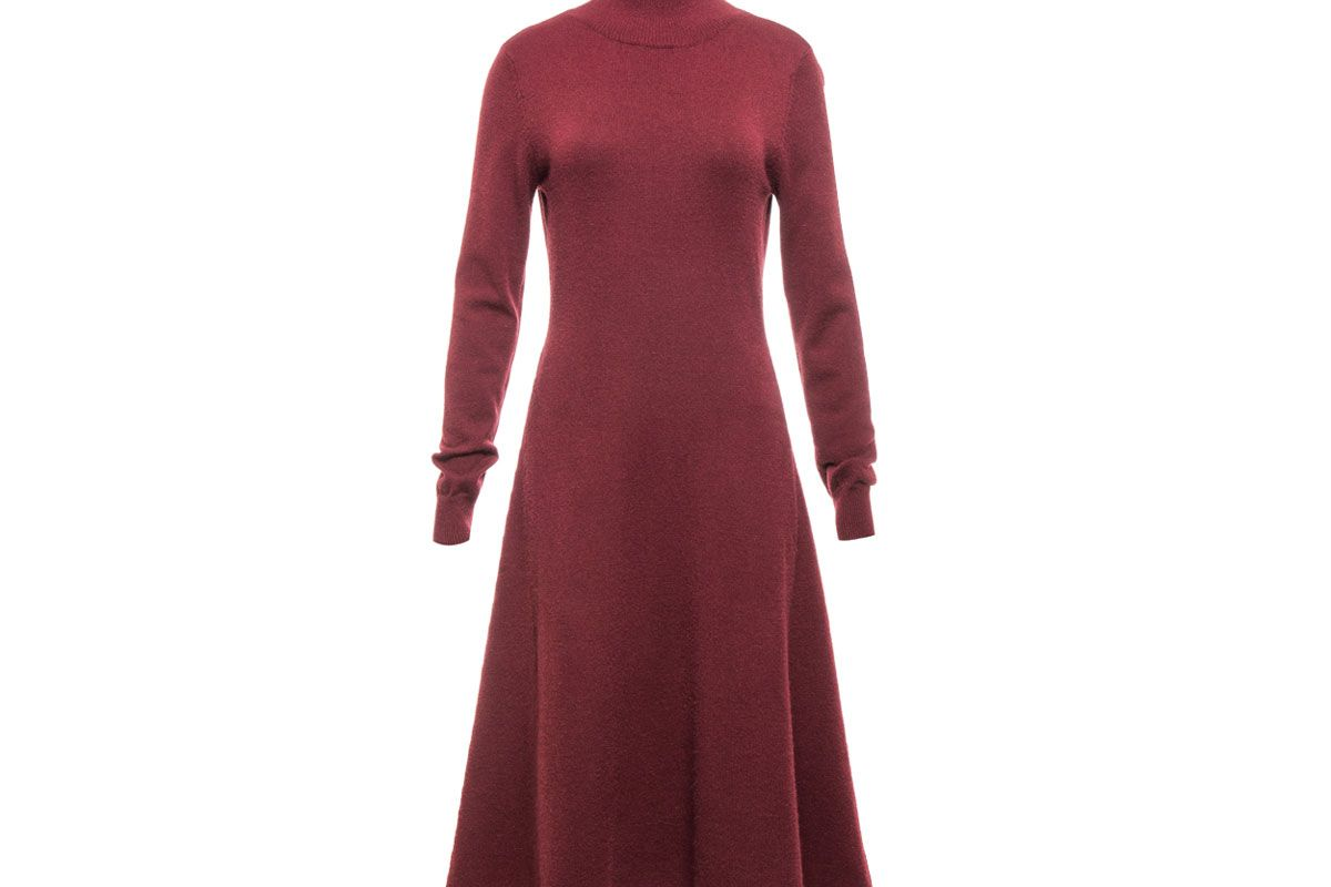 Wine Red Reversible Turtle Neck A-line Sweater Dress