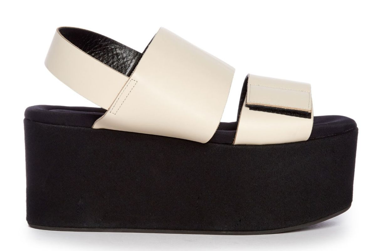Leather and Canvas Flatform Sandals